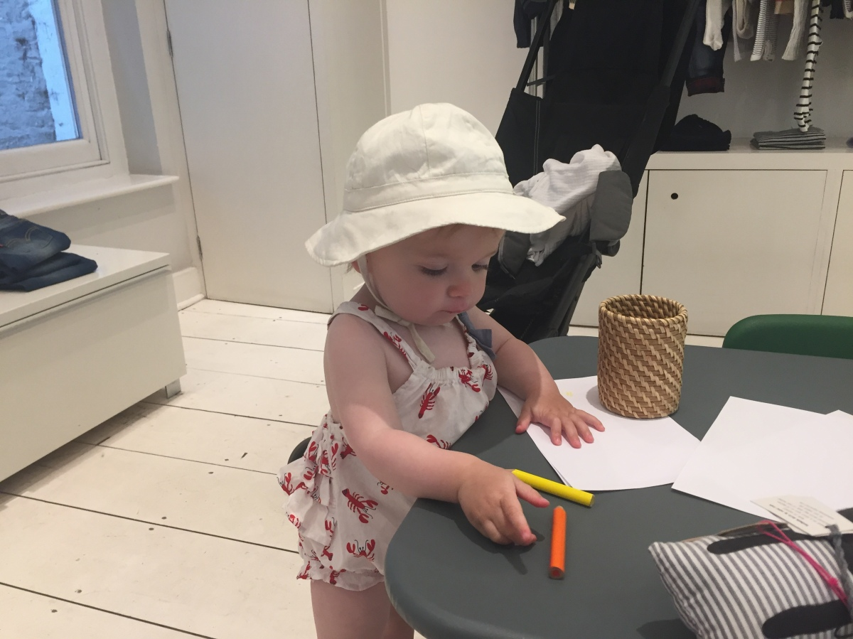 Shop obscenely tasteful kidswear while the sprogs do some drawing at Elias & Grace
